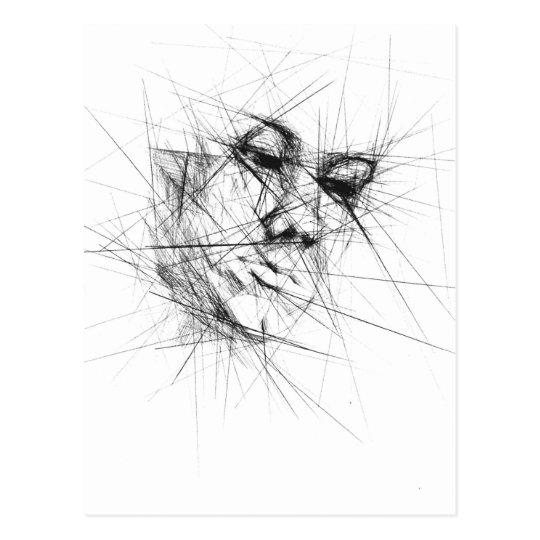 Face Line Art Postcard