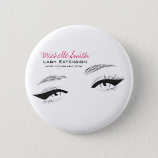 Face long lashes eyeliner Lash Extension Pinback Button