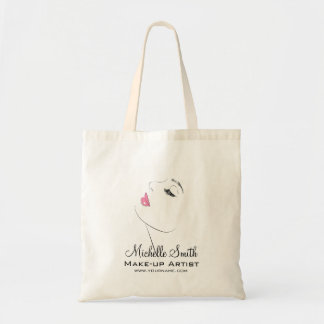 Face Long lashes Lash Extensions Pink lips Tote Bag