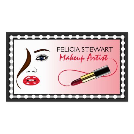 Face and Lipstick in the Mirror Makeup Artist Business Cards Template