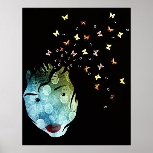 Face Numbers Butterflies Modern Abstract Art Poster