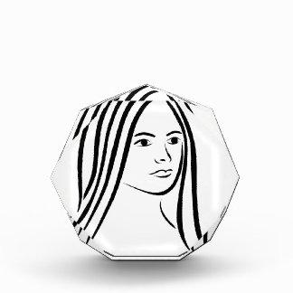 Face of a beautiful young woman acrylic award