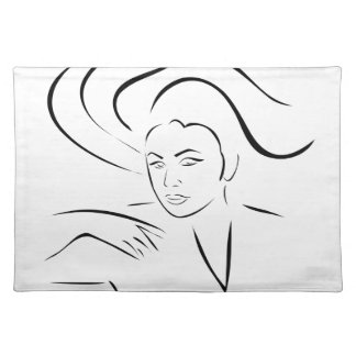 Face of a beautiful young woman cloth placemat