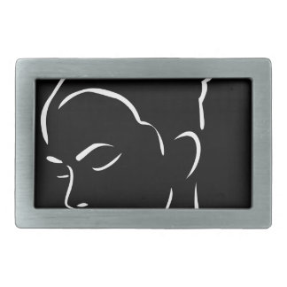 Face of a beautiful young woman rectangular belt buckle