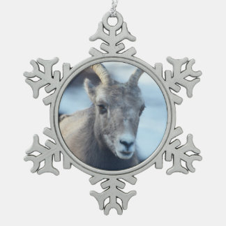 Face of a Bighorn Sheep Snowflake Pewter Christmas Ornament