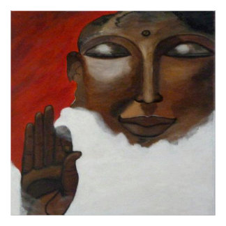Face of a female Buddha with hand sign Poster