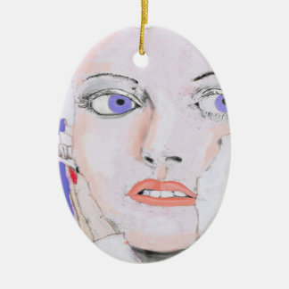 Face of a Girl with Blue Eyes Ceramic Ornament