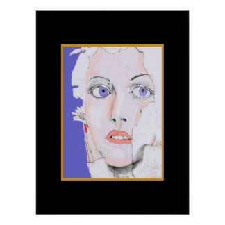 Face of a Girl with Blue Eyes Poster