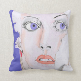 Face of a Girl with Blue Eyes Throw Pillow