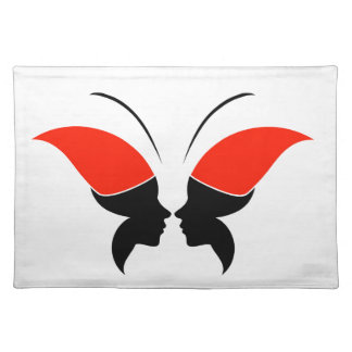 Face of a lady and butterfly cloth placemat