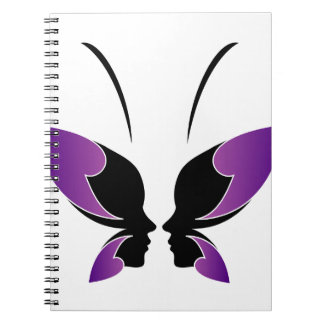 Face of a lady and butterfly notebook