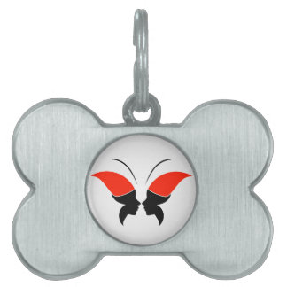 Face of a lady and butterfly pet ID tag