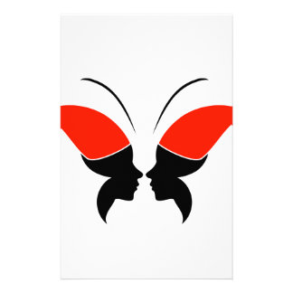 Face of a lady and butterfly stationery