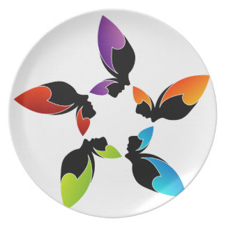 Face of a lady and leaf melamine plate