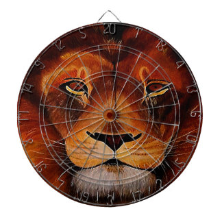 Face of a lion realistic painted dart board