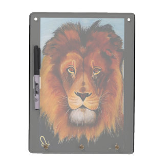 Face of a lion realistic painted dry erase board