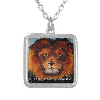 Face of a lion realistic painted silver plated necklace