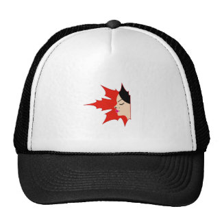 Face of a pretty lady in a maple leaf trucker hat