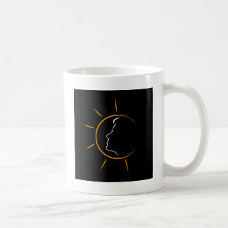 Face of a woman in the sun- showing tanning coffee mug