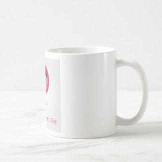 Face of a woman inside a female symbol coffee mug