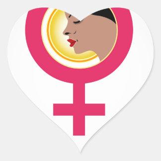 Face of a woman inside a female symbol heart sticker
