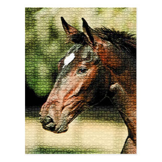 Face of Horse Mosaic Tiles Postcard