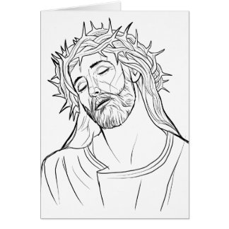 Face of Jesus crown of thorns Card