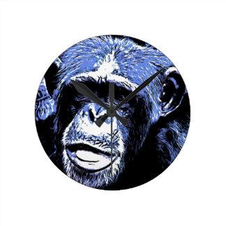 Face of Monkey monkey face Round Clocks