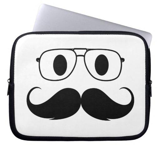 face of mustache laptop sleeve