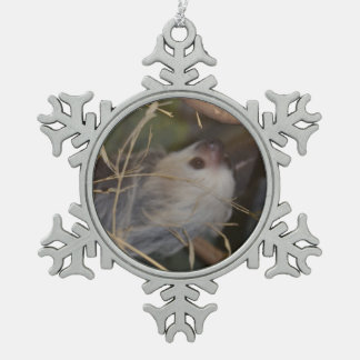 Face of Sloth Snowflake Pewter Christmas Ornament