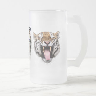 Face of tiger frosted glass beer mug
