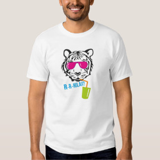 Face of tiger in pink glasses t-shirt