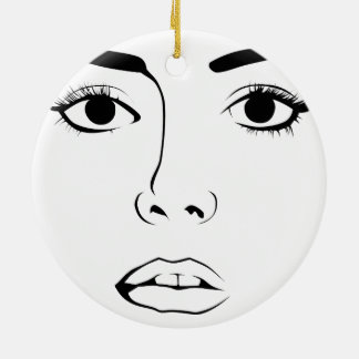 Face OF Woman Double-Sided Ceramic Round Christmas Ornament