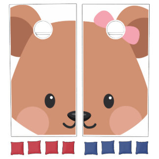 Face Off: Cute Little Bear with a Bow Tie. Cornhole Set