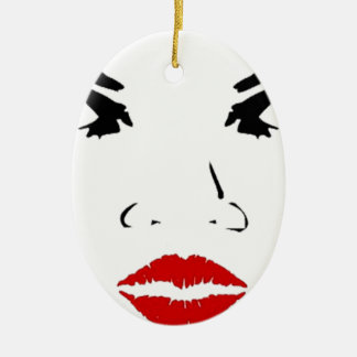 face Double-Sided oval ceramic christmas ornament