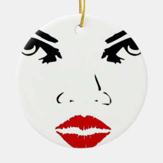 face Double-Sided ceramic round christmas ornament