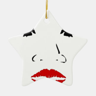 face Double-Sided star ceramic christmas ornament