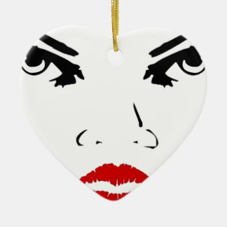 face Double-Sided heart ceramic christmas ornament