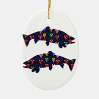 Face PAINTED fIsh TROUT kids NavinJOSHI NVN98 FUN Christmas Ornament