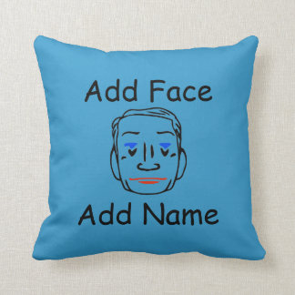 Face Pillow, edit image, add text, Throw Pillow