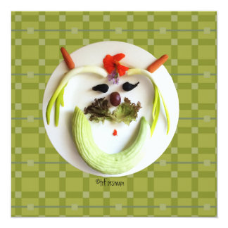 FACE PLATE: vegetable face on plate art Card