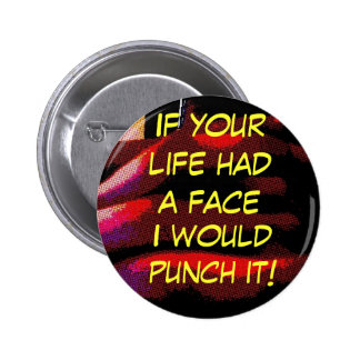 face punch pinback button