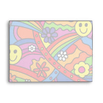 Face Rainbow and Flower Hippy Pattern Envelope
