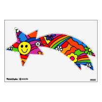 Face Rainbow and Flower Hippy Pattern Wall Decal