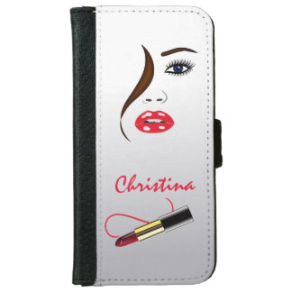 Face Red Lipstick Kiss Mirror Phone 6 6S Wallet