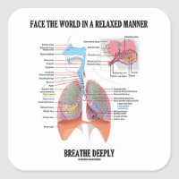 Face The World In A Relaxed Manner Breathe Deeply Square Sticker