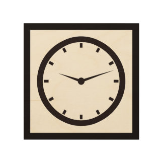 Face Time Clocked Wood Wall Art