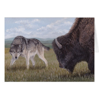 Face to Face Wolf & Buffalo greeting card