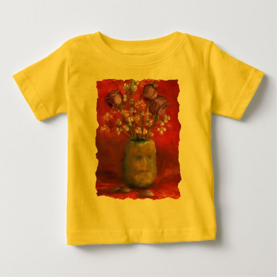 Face Vase with Purple Flowers in Red Background Baby T-Shirt