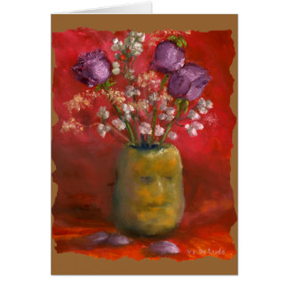 Face Vase with Purple Flowers in Red Background Card